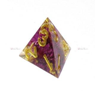 シャープエッジダイスセット【紫色4面体】菊入りサイコロ ハンドメイド品