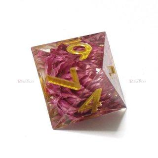 シャープエッジダイスセット【紫色8面体】菊入りサイコロ ハンドメイド品