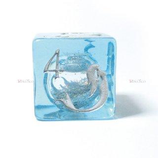 限定4個◆試作品◆水入りマーメイド【水色&銀】6面サイコロ