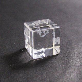 限定2個◆試作品◆3Dレーザー浮遊数字【通常サンプル】ガラス製6面サイコロ