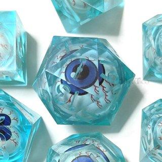 到着待ち◆眼球ダイス7個セット【薄ブルー】ハンドメイドシャープエッジ