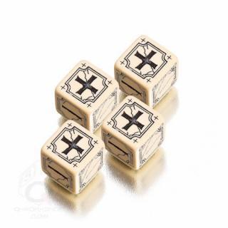 エンシャントファッジ(Ancient Fudge)【ベージュ&ブラック 6面ダイス×4個セット】 Q-WORKSHOP