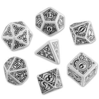 スチームパンク(Steampunk)【ホワイト&ブラックダイス 7個セット】White&Black Dice Set Q-WORKSHOP