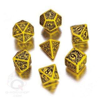 スチームパンク(Steampunk)【イエロー&ブラックダイス 7個セット】Yellow&Black Dice Set Q-WORKSHOP