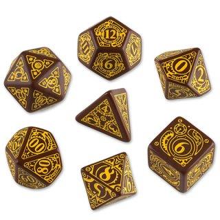 スチームパンク(Steampunk)【ブラウン&イエローダイス 7個セット】Brown&Yellow Dice Set Q-WORKSHOP