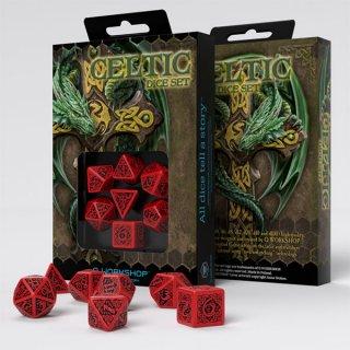 新デザイン:ケルト(Celtic)【レッド&ブラックダイス 7個セット】Red&Black Dice Set Q-WORKSHOP