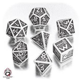 ドワーフ(Dwarven)【ホワイト&ブラックダイス 7個セット】White&Black Dice Set Q-WORKSHOP
