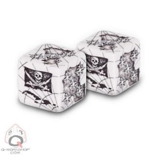 パイレーツ(Pirate)【ホワイト&ブラック 6面ダイス×2個セット】White&Black Dice Set Q-WORKSHOP