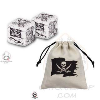 パイレーツ(Pirate)【ホワイト&ブラック 6面ダイス×2個+ダイスバッグセット】Dice+Dicebag Q-WORKSHOP