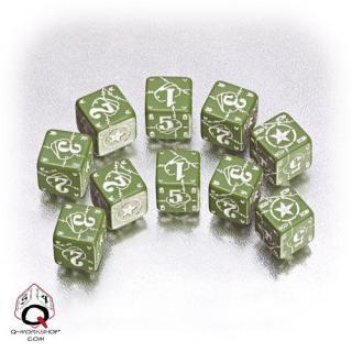 ワールドウォー2 バトルUSA(Battle USA)【グリーン&ホワイトダイス 10個セット】 Q-WORKSHOP