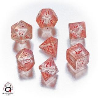 エルフ(Elven)【クリア&レッドダイス  7個セット】Transparent&Red Dice Set Q-WORKSHOP
