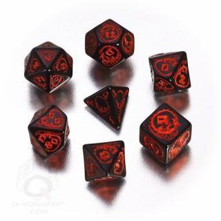 ドラゴン(Dragons)【ブラック&レッドダイス 7個セット】Black&Red Dice Set Q-WORKSHOP