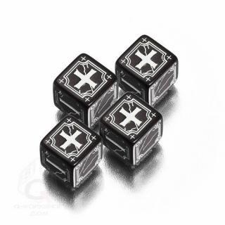エンシャントファッジ(Ancient Fudge)【ブラック&ホワイト 6面ダイス×4個セット】Dice Set Q-WORKSHOP