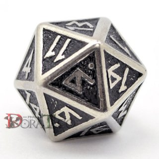 D20単品・ドワーフ(Dwarven)【メタル&ブラックダイス】 20面×1個