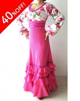 25%OFF!hp307 ピンク花柄ハイウエストツーピー1段フリルペチコートつき〈LÓPEZ DE SANTOSデザイン〉