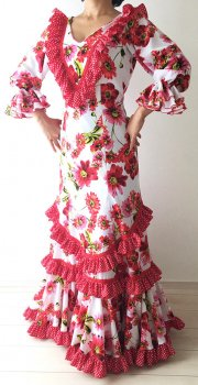 25%OFF!hp310 白×赤花柄ワンピース〈LÓPEZ DE SANTOSデザイン〉