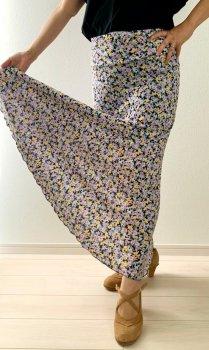 hpf044p 練習用ファルダ《ピンサ 2枚はぎタイプ》黒×紫、黄、うす水色小花