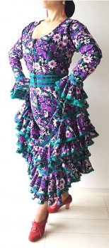 hp427 黒×紫花柄 エメラルドレース ツーピース〈LÓPEZ DE SANTOSデザイン〉