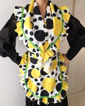 hpap042 エプロン・パニョレタセット 白×黒水玉 黄色花柄
