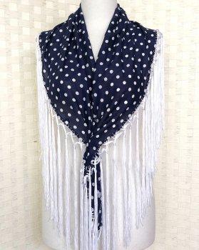 hpc159シージョ 紺×白水玉 織り柄 フレコ白