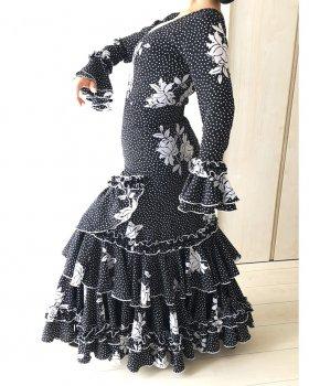 hp486 黒×白水玉 白花柄ツーピース〈Madre de Lunaデザイン〉