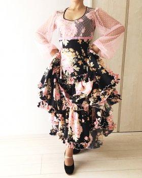 hp488 黒×ピンク花柄 ピンクチュール ワンピース〈Madre de Lunaデザイン〉