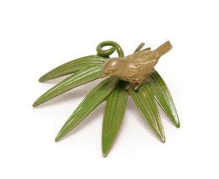 銅 香立 竹に雀