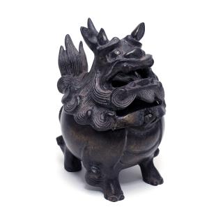 唐銅 獅子香炉