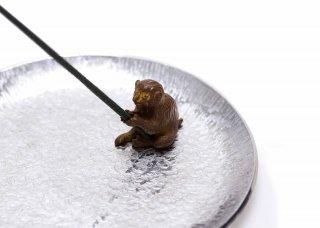 銅 香立 猿(錫受皿付セット)