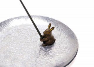 銅 香立 兎(錫受皿付セット)