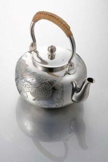純銀湯沸 龍虎文刻
