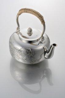 純銀湯沸 唐獅子牡丹
