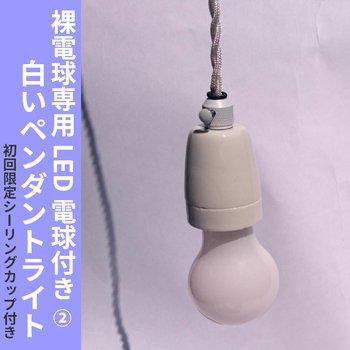 白いペンダントライト E26 LED電球付き フロストエジソンランプ