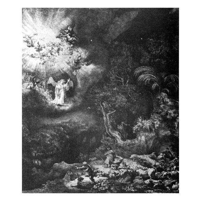レンブラント・ファン・レイン「羊飼いの前に現れた天使」 3号〜100号<br>プリハード・デジタグラフ 額付