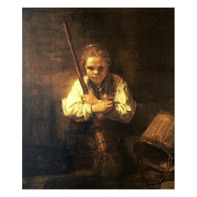 レンブラント・ファン・レイン「箒を持つ少女」 3号〜100号<br>プリハード・デジタグラフ 額付