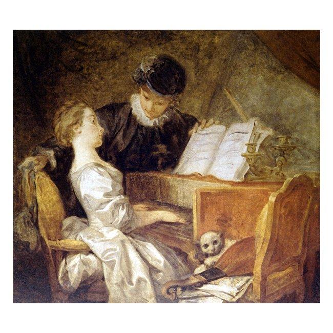 ジャン・オノレ・フラゴナール「音楽の稽古」 3号〜100号<br>プリハード・デジタグラフ 額付