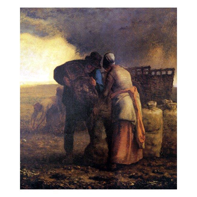 ジャン・フランソワ・ミレー「馬鈴薯の収穫(部分)」 3号〜100号<br>プリハード・デジタグラフ 額付