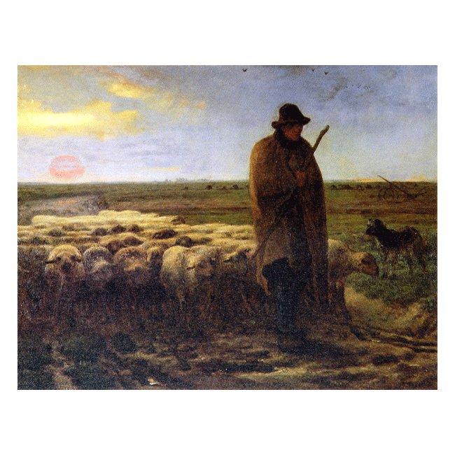 ジャン・フランソワ・ミレー「夕暮れに羊を連れ帰る羊飼い」3号〜100号<br>プリハード・デジタグラフ 額付