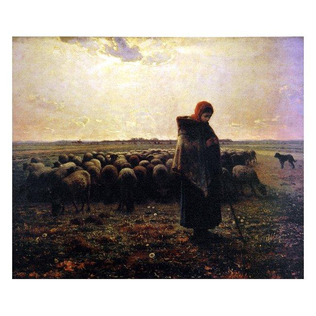 ジャン・フランソワ・ミレー「羊飼いの少女」3号〜100号<br>プリハード・デジタグラフ 額付