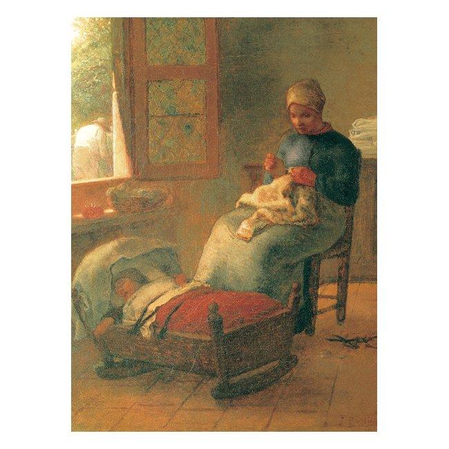 ジャン・フランソワ・ミレー「眠った子の傍らで編み物をする女」3号〜100号<br>プリハード・デジタグラフ 額付