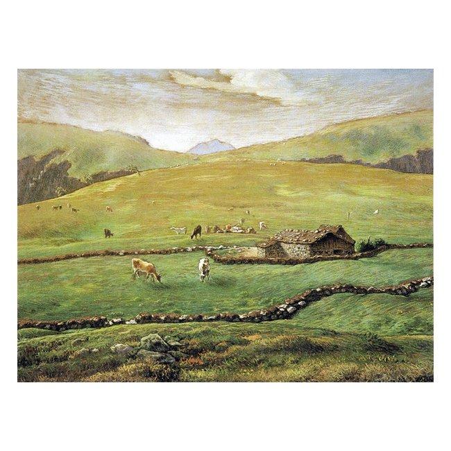 ジャン・フランソワ・ミレー「ヴォージュ山中の牧場風景」3号〜100号<br>プリハード・デジタグラフ 額付