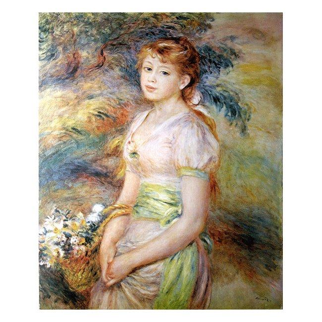 ピエール・オーギュスト・ルノワール「花かごを持つ少女」 3号〜100号<br>プリハード・デジタグラフ 額付