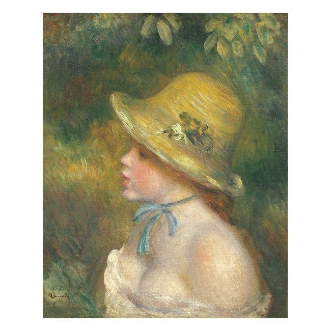 ピエール・オーギュスト・ルノワール「麦わら帽子を被った若い娘」 3号〜100号<br>プリハード・デジタグラフ 額付