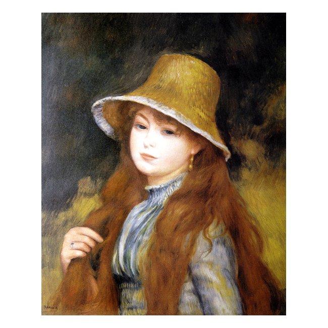 ピエール・オーギュスト・ルノワール「長い髪をした若い娘」 3号〜100号<br>プリハード・デジタグラフ 額付