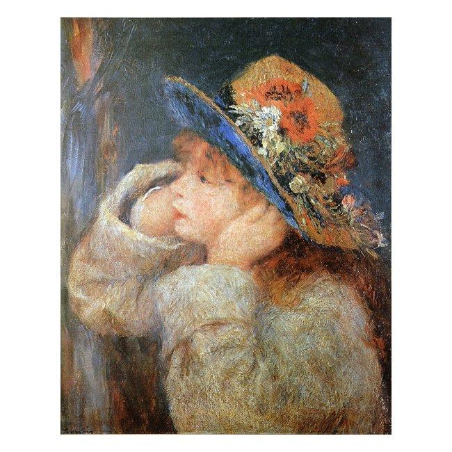 ピエール・オーギュスト・ルノワール「野の花の帽子をかぶった少女」 3号〜100号<br>プリハード・デジタグラフ 額付