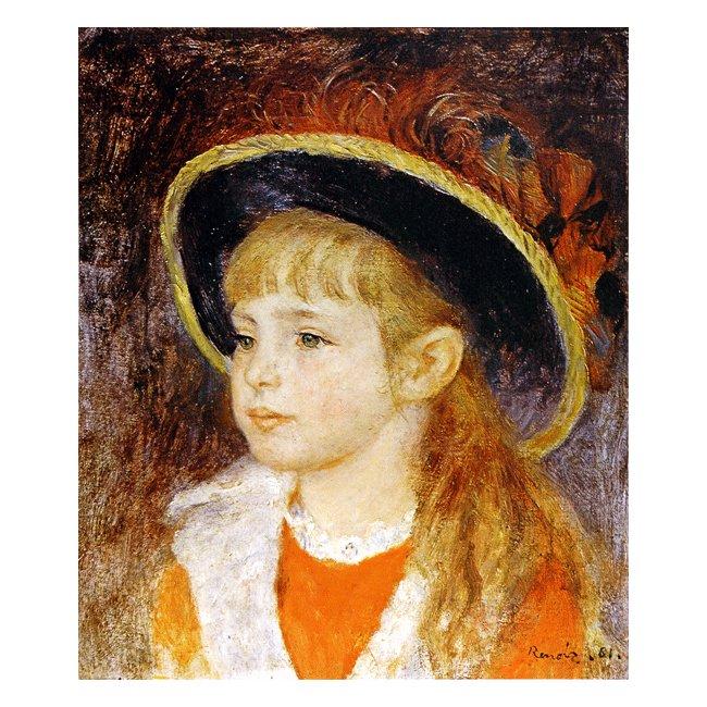 ピエール・オーギュスト・ルノワール「青い帽子の少女」 3号〜100号<br>プリハード・デジタグラフ 額付