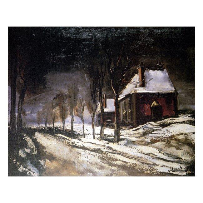 モーリス・ド・ブラマンク「雪の道と家」 3号〜100号<br>プリハード・デジタグラフ 額付