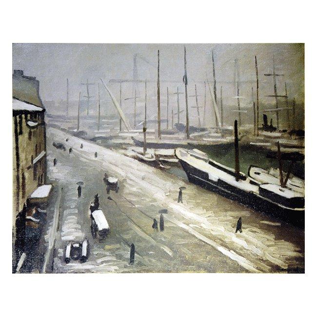 アルベール・マルケ「マルセイユ港雪景色」 3号〜100号<br>プリハード・デジタグラフ 額付