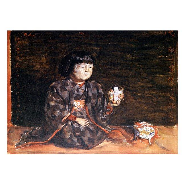 岸田劉生「麗子座像」3号〜100号<br>プリハード・デジタグラフ 額付