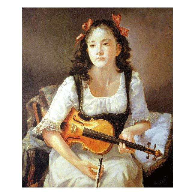 奥龍之介「バイオリンを持つ少女」3号〜100号<br>プリハード・デジタグラフ 額付